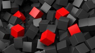 Fototapet 3D svarta och röda kuber högen abstrakt bakgrund