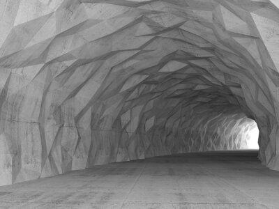 Fototapet 3d tunnel interiör med kaotiska polygonal lättnad