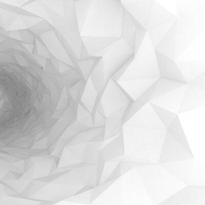 Fototapet 3d tunnel med kaotiska polygonal yta