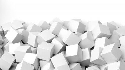 Fototapet 3D vita kuber hög, isolerad på vitt med kopia-utrymme