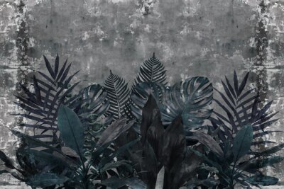 Fototapet 3d wallpaper, blue leaves of houseplants on concrete wall textured background. The original panel will turn your room in with the most recent world trends in interior fashion.