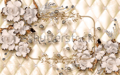 Fototapet 3d wallpaper design with ceramic jewels and flowers for photomural