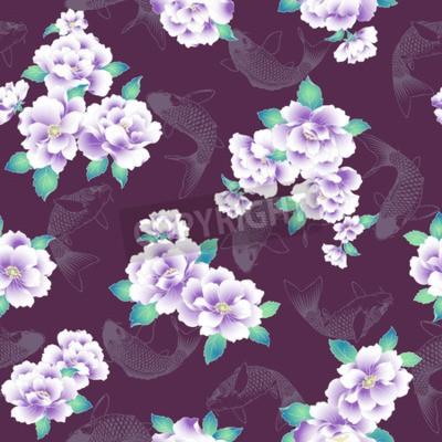 Fototapet A Japanese style peony pattern.