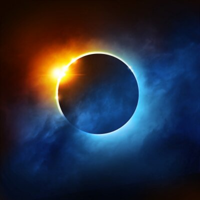 Fototapet A Total Eclipse of the Sun. Dramatisk Solförmörkelse illustration.