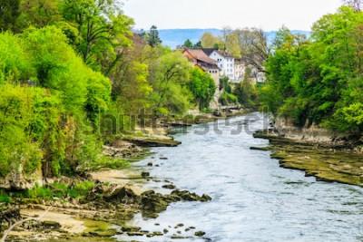 Fototapet Aare River i Brugg City i Schweiz