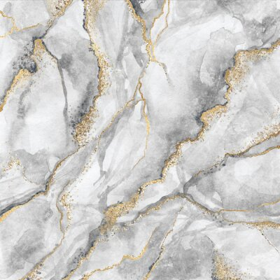 Fototapet abstract background, creative texture of white marble with gold veins, artistic paint marbling, artificial fashionable stone, marbled surface