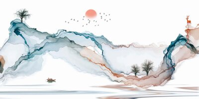Fototapet Abstract background ink line decoration painting landscape artistic conception