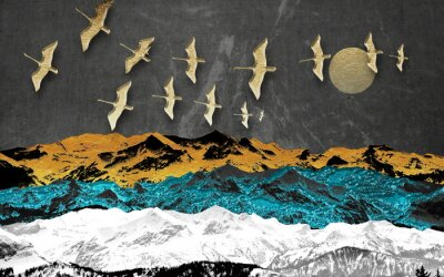 Fototapet Abstract colored mountains on a dark background, full moon, flock of birds