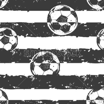 Fototapet Abstract seamless football pattern. Grunge urban repeated backdrop for boy,sport textile, clothes, wrapping paper. Grungy textured wall. Sportish elements. Monochrome grey and white background