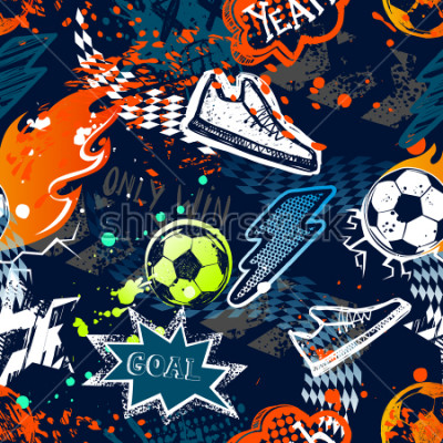 Fototapet Abstract seamless football pattern. Sport background. Grunge repeated backdrop for boy, textile, clothes,wrapping paper. Colorful print with speech cloud, goal, lightning, fire, soccer ball, sneakers