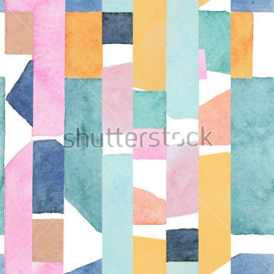 Fototapet Abstract watercolor seamless pattern. Artwork in geometric modern style.