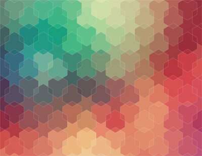 Fototapet Abstrakt 2D geometrisk färgrik bakgrund