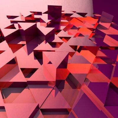 Fototapet Abstrakt 3d bakgrund med röda polygonala trianglar.