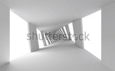 Fototapet Abstrakt 3d bakgrund med vit snodd spiral korridor