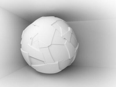 Fototapet Abstrakt 3d bakgrund med vita stora flygande sfär