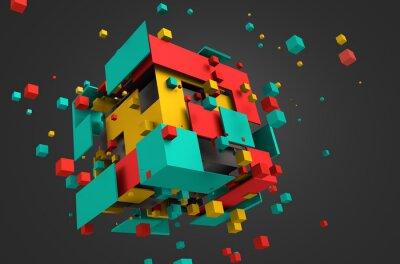 Fototapet Abstrakt 3D-rendering of Flying kuber.