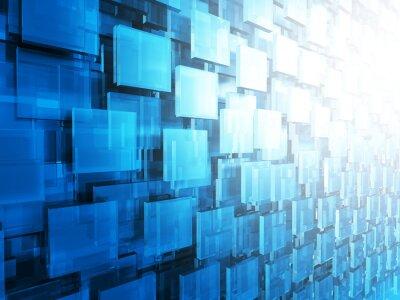 Fototapet Abstrakt andra högteknologiska Glossy fyrkanter Bakgrund