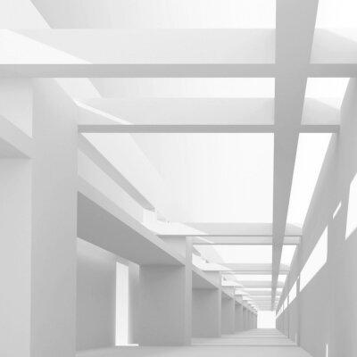 Fototapet Abstrakt arkitektur 3d bakgrund med perspektiv av emp