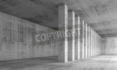 Fototapet Abstrakt arkitekturbakgrund, tom interiör med betongväggar och kolumner i en rad, 3d illustration med perspektiv verkan