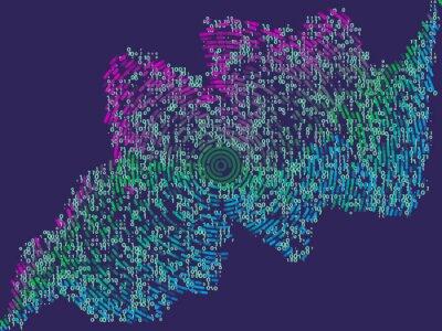 Fototapet Abstrakt bakgrund från färgradiala linjer och kod.