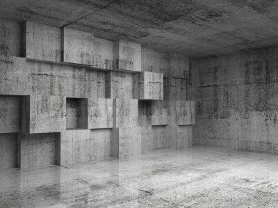 Fototapet Abstrakt betong 3d interiör med dekoration kuber på väggen