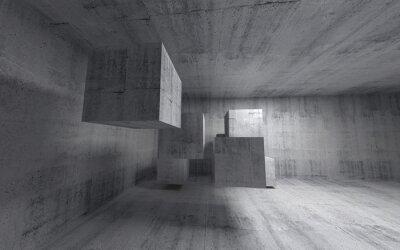 Fototapet Abstrakt betong 3d interiör med flygande kuber. Vid vinkel