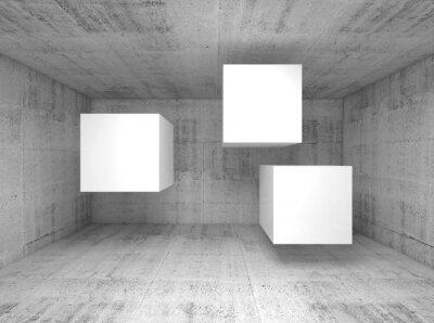 Fototapet Abstrakt betong interiör, flygande kuber 3 d