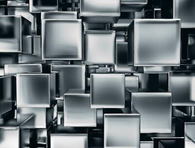 Fototapet abstrakt bild av metall kuber bakgrund