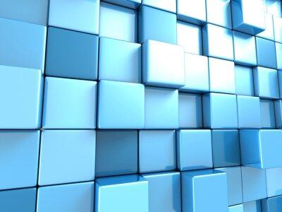 Fototapet Abstrakt blå kuber bakgrundsbild