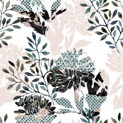 Fototapet Abstrakt blommar monster. Akvarellblommor, lejon fyllda med minimal doodle texturer. Naturlig bakgrund. Handmålade höstillustration för tyg, textil, inslagning