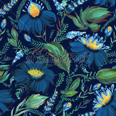 Fototapet Abstrakt blommigt sömlöst mönster i ukrainska folkmåleri stil Petrykivka. Handdragen fantasyblommor, löv, grenar på en mörk indigoblå bakgrund. Batik, sidofyllning, albumomslag, textiltryck