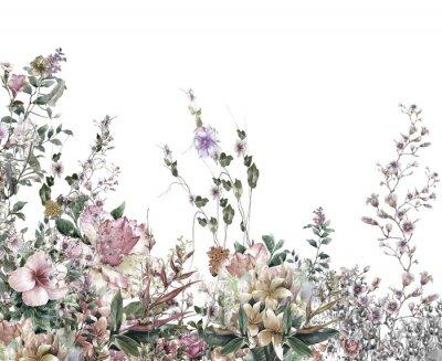 Fototapet Abstrakt blommor akvarellmålning. Fjädermångfärgade blommor
