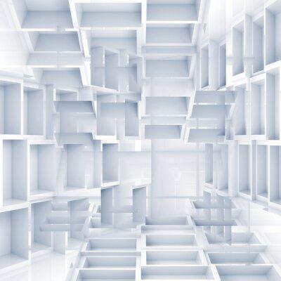 Fototapet Abstrakt digital 3d bakgrund med kaotiska vita kuber