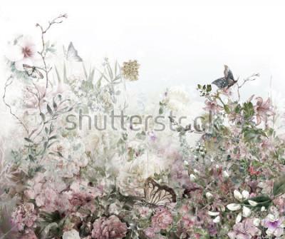 Fototapet Abstrakt färgrik blommor vattenfärgmålning. Våren mångfärgad i naturen