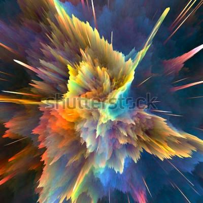Fototapet Abstrakt färgrik explosionbakgrund. Närbild, högupplöst illustration för din broschyr, reklamblad, bannerdesign och andra projekt. Explosionsbelysningseffekt. 3D framför illustration.