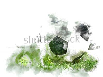 Fototapet Abstrakt färgrik fotboll på grönt gräs på vattenfärg illustration målning bakgrund.
