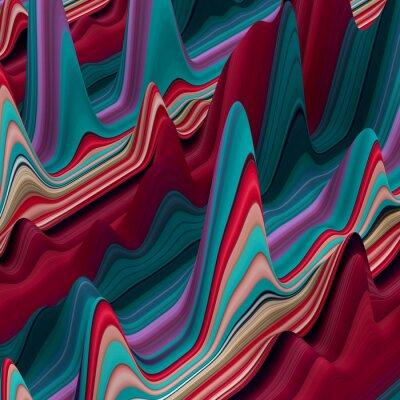 Fototapet Abstrakt färgrik vågiga linjer, 3d bakgrund