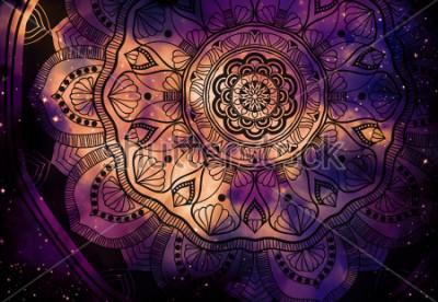 Fototapet Abstrakt gammal geometrisk med stjärnfält och färg galaxbakgrund, akvarell digital konstmålning och mandala grafisk design