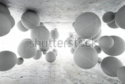 Fototapet Abstrakt geometrisk bakgrund av betongbollar. 3D illustration.