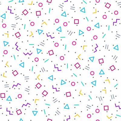 Fototapet Abstrakt geometrisk bakgrund, Memphis stil, ljusa neonfärger, sömlösa vektor mönster