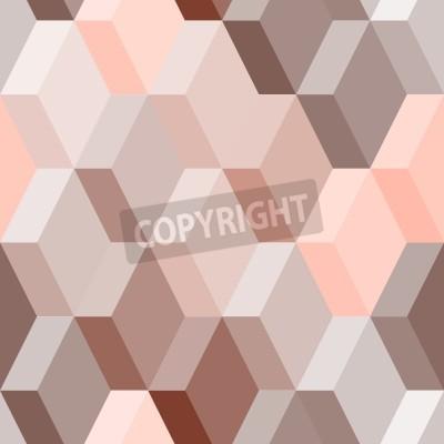 Fototapet Abstrakt geometriskt seamless i rosa och brunt, vektor