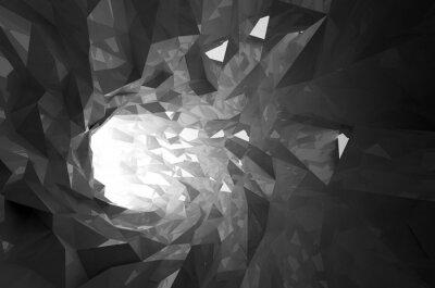 Fototapet Abstrakt glänsande svart kristall digital tunnel 3d