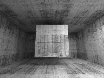 Fototapet Abstrakt grå rum interiör. 3d bakgrund med flygande kub