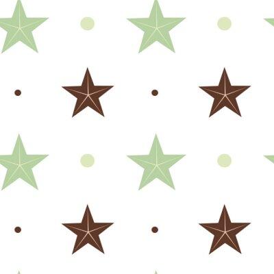 Fototapet abstrakt grönt och brunt stjärnor sömlösa vektor mönster bakgrund illustration i skandinaviska färger