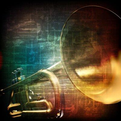 Fototapet abstrakt grunge bakgrund med trumpet