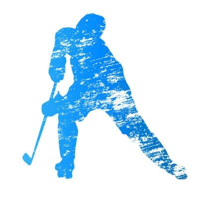 Fototapet Abstrakt grungy vektor ishockeyspelare