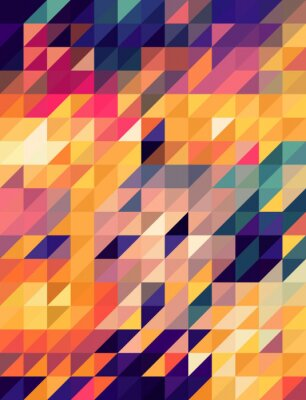 Fototapet Abstrakt gyllene och blå trianglarna bakgrund