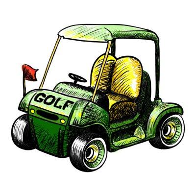 Fototapet Abstrakt isolerad vektor golfbil. Linjefärg vektor skiss