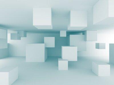 Fototapet Abstrakt Kaotiska kuber Byggprojektering Bakgrund