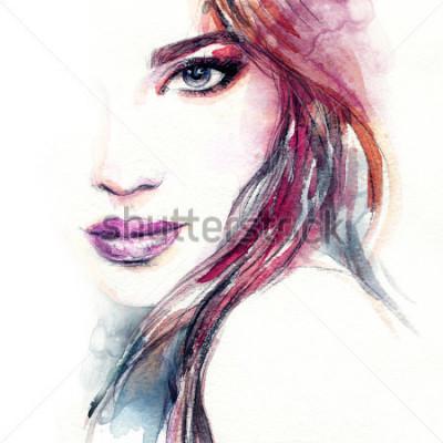Fototapet Abstrakt kvinna ansikte. Mode illustration. Akvarellmålning